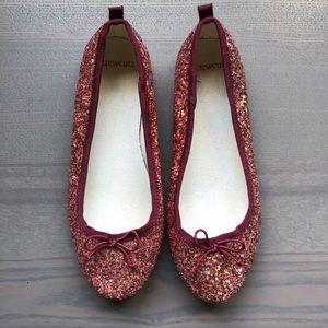 JCrew Crewcuts Girl Glitter Ballet Flats Shoes 3